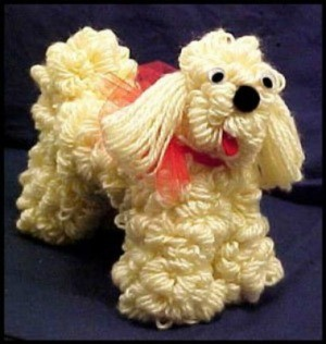 Photo of a finished dog made out of yarn.