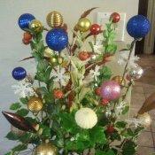 Closeup of unique Christmas arrangement