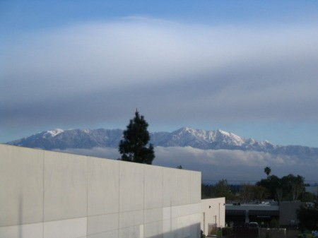 Snow capped mountains in the distance