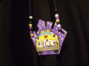 Bead and foam necklace for children.