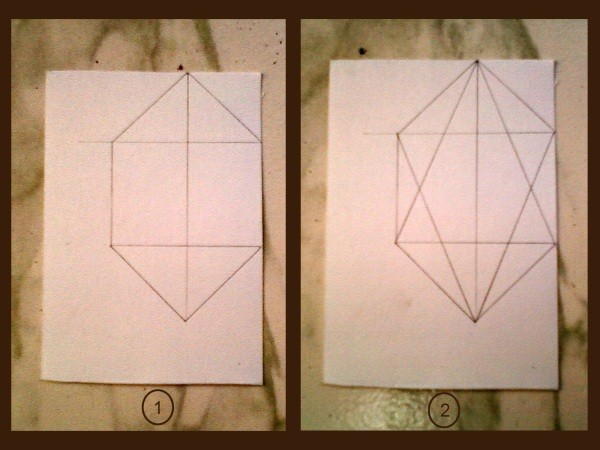 First stage of drawing the fold lines.