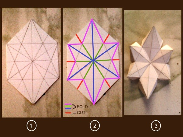 Drawing, cut, and fold lines marked on part two of photo, and photo of folded plain paper star.