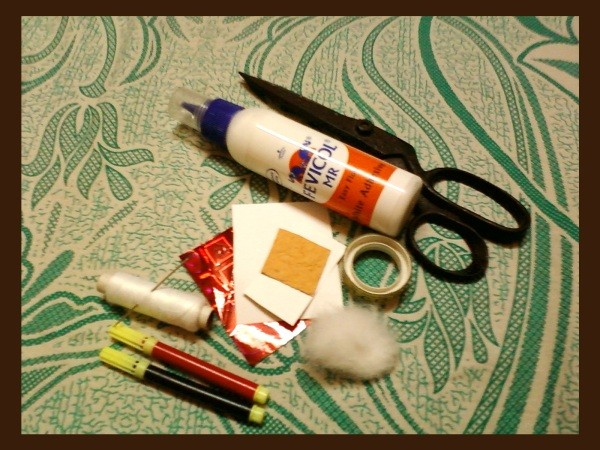 Supplies for Santa Ornament