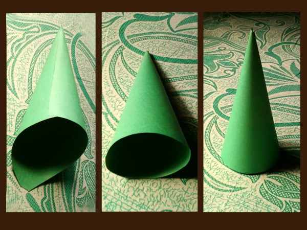 Making the paper cone shape for the tree.
