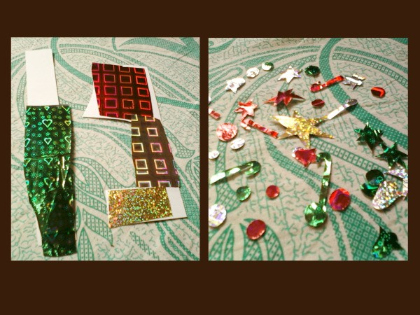 Gluing foil type wrapping paper onto backing and cutting out ornaments.