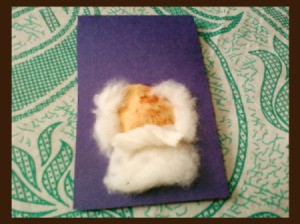 Santa Christmas Card - adding cotton for beard and hair.