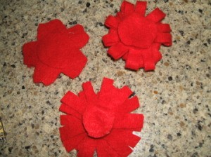 Felt circles glued to back of flower before pin.