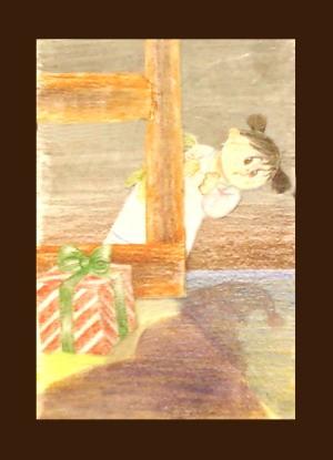 Girl spotting santa christmas card