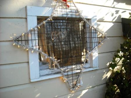 Homemade crab trap lighted Christmas star.