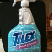 Bottle of Tilex Power Shower cleaner.