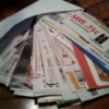 Stack of coupons arranged on table