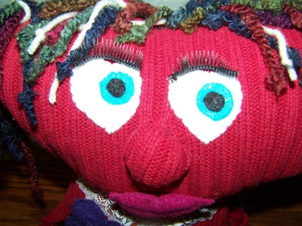 Mopheart Rag Doll  - Closeup of face.