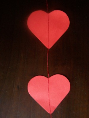 Set of two sewn hearts.
