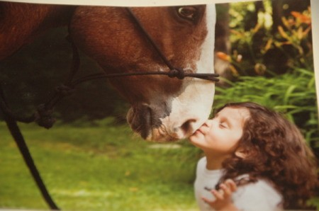 Chestnut horse (Sequoia) touching noses with a young girl (Brook)