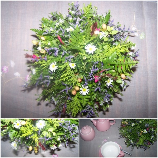 The completed floral arrangement.