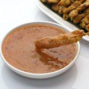 Peanut Sauce Recipes, Pork satay with peanut sauce dip.