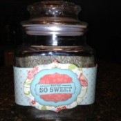 "Decorated Candy Jar with the words ""So Sweet"""