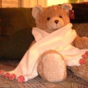 A velvet scarf displayed on a teddy bear.