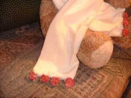 Detail on velvet scarf.