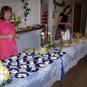 Wedding Reception with borrowed decorations.