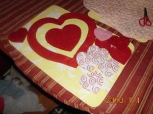 Felt heart cutouts.