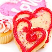 Colorful Valentine' Day cookies.