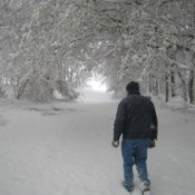 Man walking in the snow.