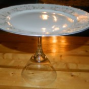 """Vintage"" Cake Platter made from a china plate and stemware."