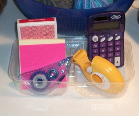 Reusing Clamshell Bakery Packaging for storing office supplies