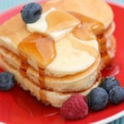 Heart shaped pancakes.