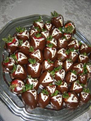 Plate of tuxedo strawberries.