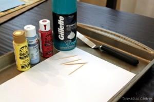 Supplies for shaving cream art.