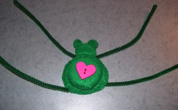 Funny Frog Valentine - Pipe cleaners added for legs.