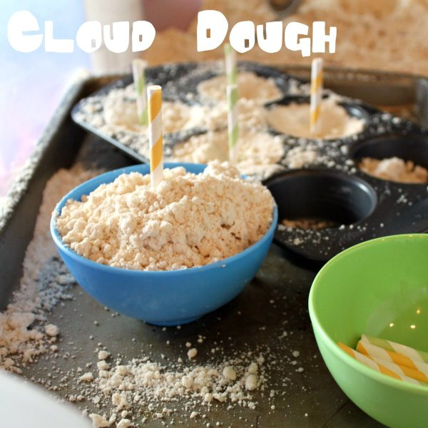 Dough with pan and bowls.