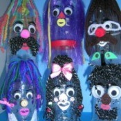 Long wild haired puppets.