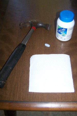 """Grind Up """"Elephant"""" Sized Pills, materials for breaking up calcium pill."""