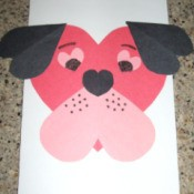 Compleded puppy Valentine card.