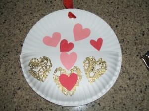 Paper Plate Valentine Card Holder - Finished Valentine card holder.