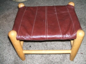 Leather Jacket Footstool -Recovered footstool.