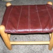 Leather Jacket Footstool -Recovered footstool.