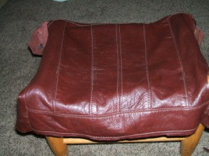 Leather Jacket Footstool - Determining where to cut.