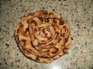 Front view of completed ribbon rose.