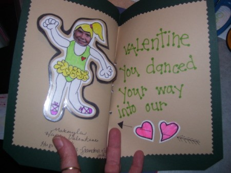 Completed ballerina card, including message.