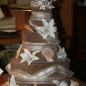 A beach towel wedding cake.