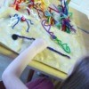 Pipe Cleaner Play Case - Down view of pipe cleaner art work in process.
