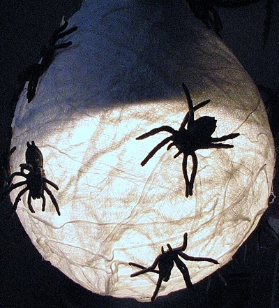Spider decoration on a light fixture.
