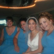 A bride and her bridal party.