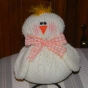 Easter Chick - Closeup of finished chick made out of an old chenille blanket.