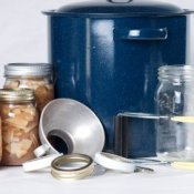 Canning kettle, jars, lids, and tools