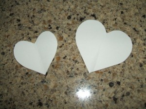 Paper templates for hearts.
